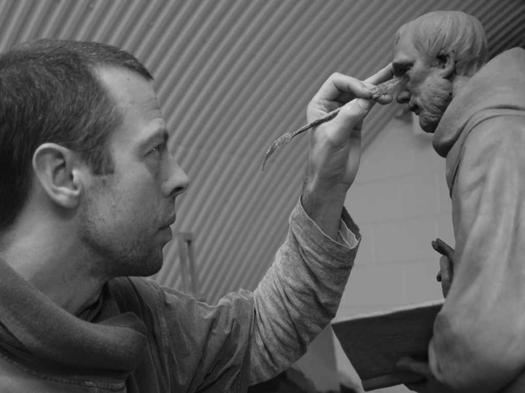 Peter Walker Sculptor creating maquette of St Chad
